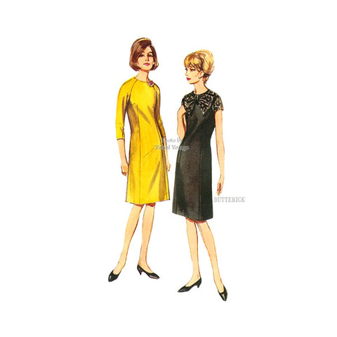1960s Easy A Line Dress Pattern, Butterick 3786