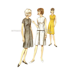 1960s Jewel Neck Pleated Dress Pattern, Butterick 3817