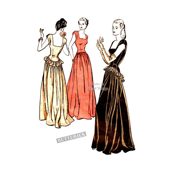 1940s Square Neck Ball Gown Pattern, Butterick 3836