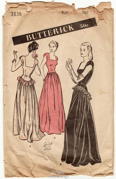 Butterick 3836, 1940s Square Neck Ball Gown Pattern