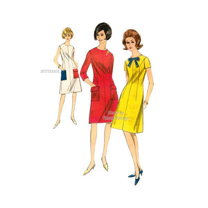 Vintage 1960s Easy A Line Dress Pattern, Butterick 3966