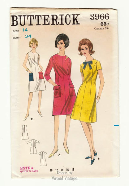 Butterick 3966, Vintage 1960s Easy A Line Dress Pattern