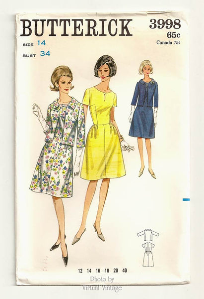 Butterick 3998, 1960s Jacket & Dress Pattern