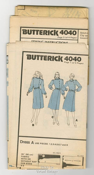1980s Blouson Dress Pattern Butterick 4040 High Collar, Side Button Front, Midi Dress, Uncut