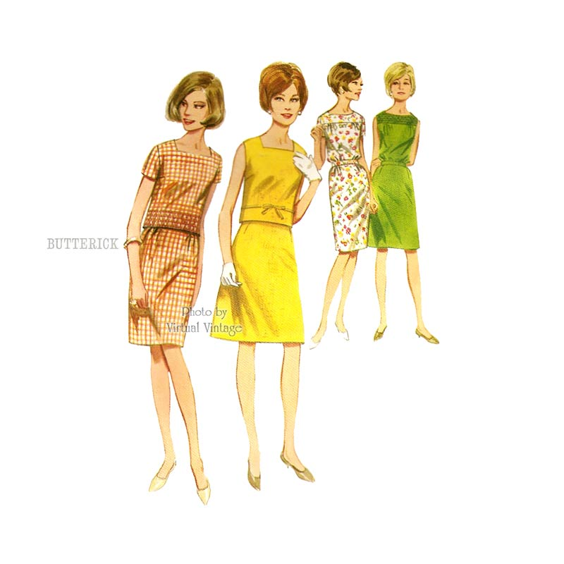 60s Two Piece Dress Pattern, Butterick 4052