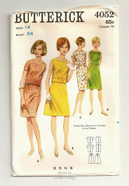 Butterick 4052, 60s Two Piece Dress Pattern