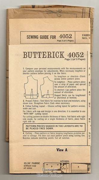 60s Two Piece Dress Pattern, Butterick 4052, Sleeveless Blouse & Skirt, Bust 34, Uncut