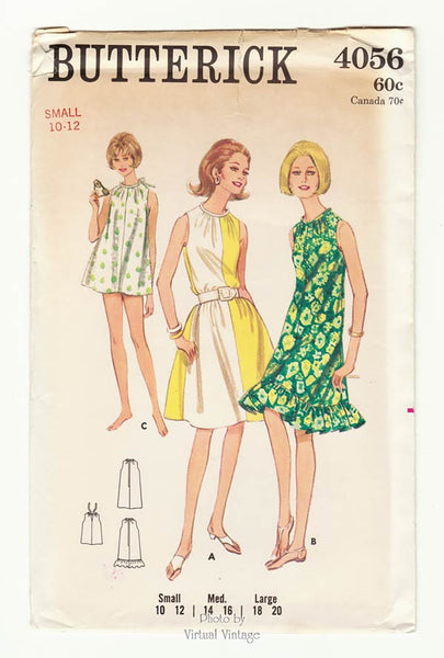 Butterick 4056, Easy 1960s Beach Cover Up Dress Pattern