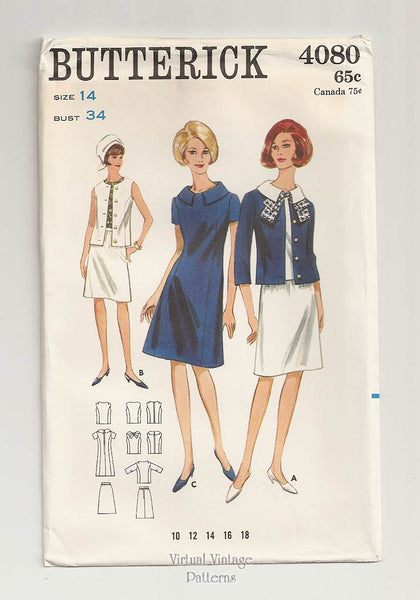 Butterick 4080, 60s Jacket, Blouse, Skirt & Dress Patterns