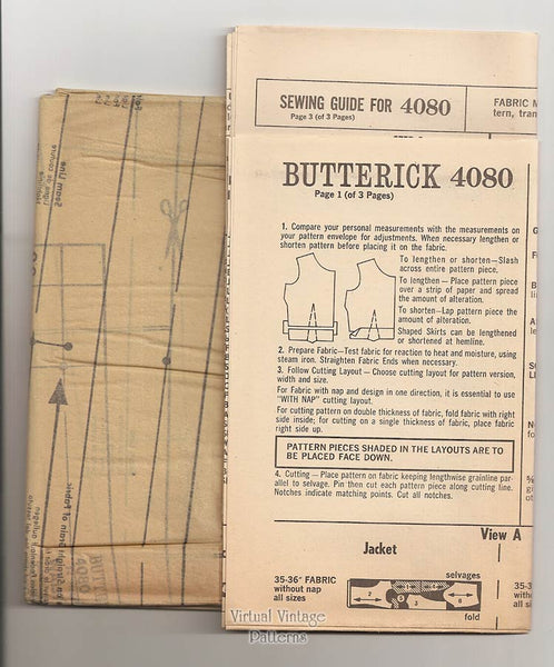 60s Jacket, Blouse, Skirt & Dress Patterns, Butterick 4080, Bust 34, Uncut