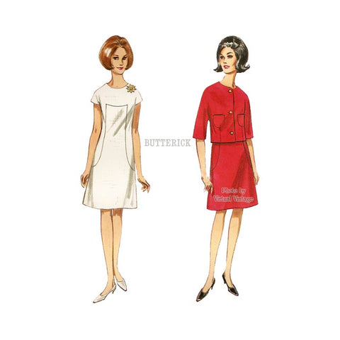 1960s Jacket and A-Line Dress Pattern, Butterick 4158