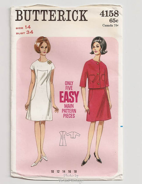 Butterick 4158, 1960s Jacket and A-Line Dress Pattern