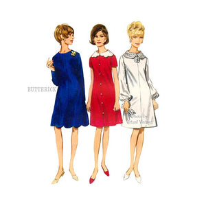 60s Scalloped Dress Pattern, Butterick 4234