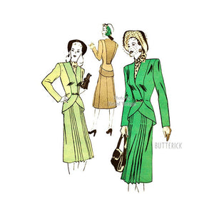 1940s Womens Suit Pattern, Butterick 4257