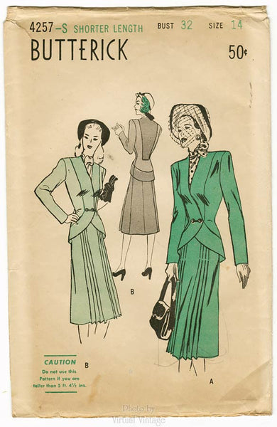 Butterick 4257 1940s Womens Suit Pattern