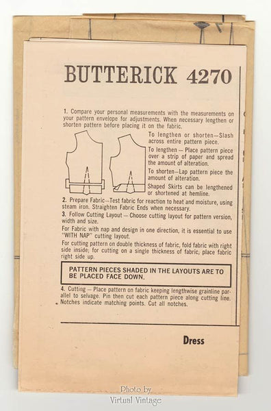 Jean Muir Dress Pattern Butterick 4270 Princess Seam A Line Dress Vintage Sewing Pattern Bust 34