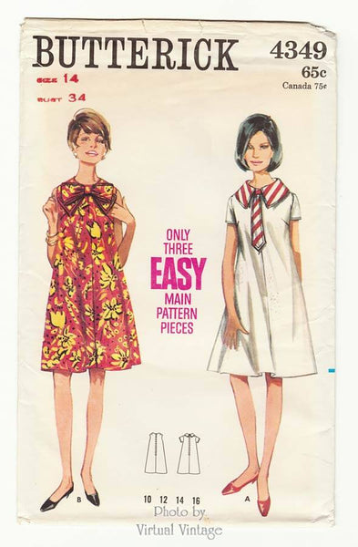 Butterick 4349, Easy 1960s Tent Dress Pattern