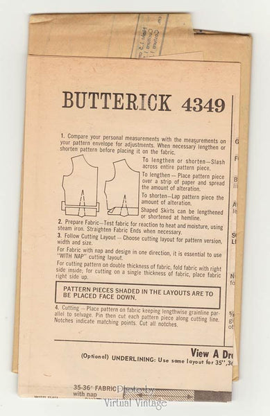 Easy 1960s Tent Dress Pattern Butterick 4349 Short Sleeve or Sleeveless Bow Dress Bust 34, Uncut