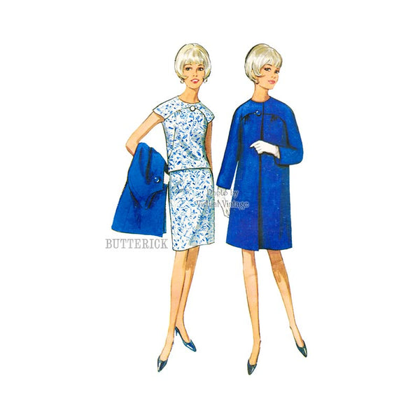60s Coat & Two Piece Dress Pattern, Butterick 4355