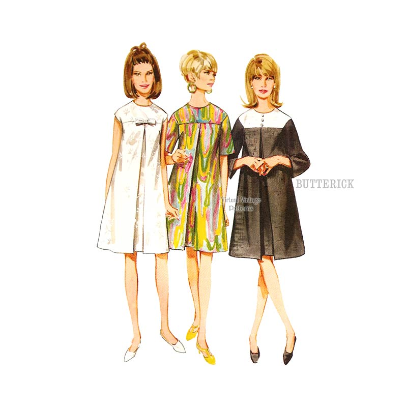 60s Inverted Pleat Dress Pattern, Butterick 4386