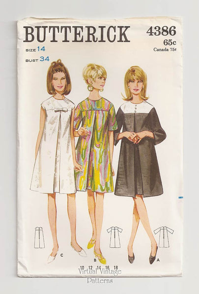 Butterick 4386, 60s Inverted Pleat Dress Pattern