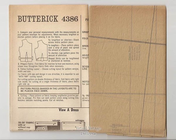 60s Inverted Pleat Dress Pattern, Butterick 4386, Vintage A Line Dress, Bust 34, Uncut