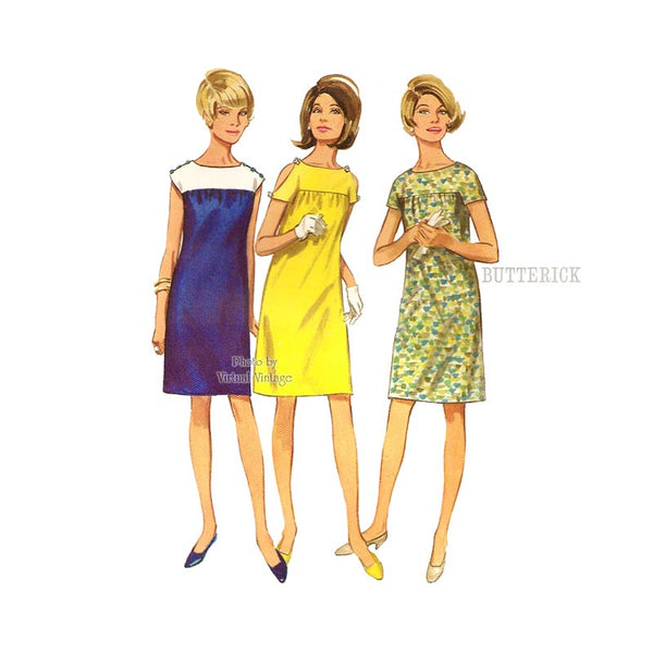 60s Short Sleeve Dress Pattern, Butterick 4554