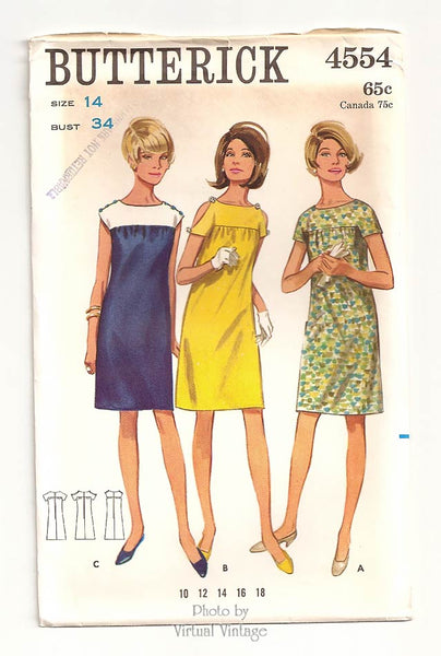 Butterick 4554, 1960s Short Sleeve Dress Pattern