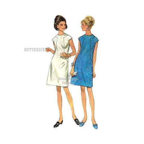 1960s A-Line Shift Dress, Butterick 4784