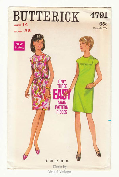 Butterick 4791, 60s Shift Dress Pattern No Zipper