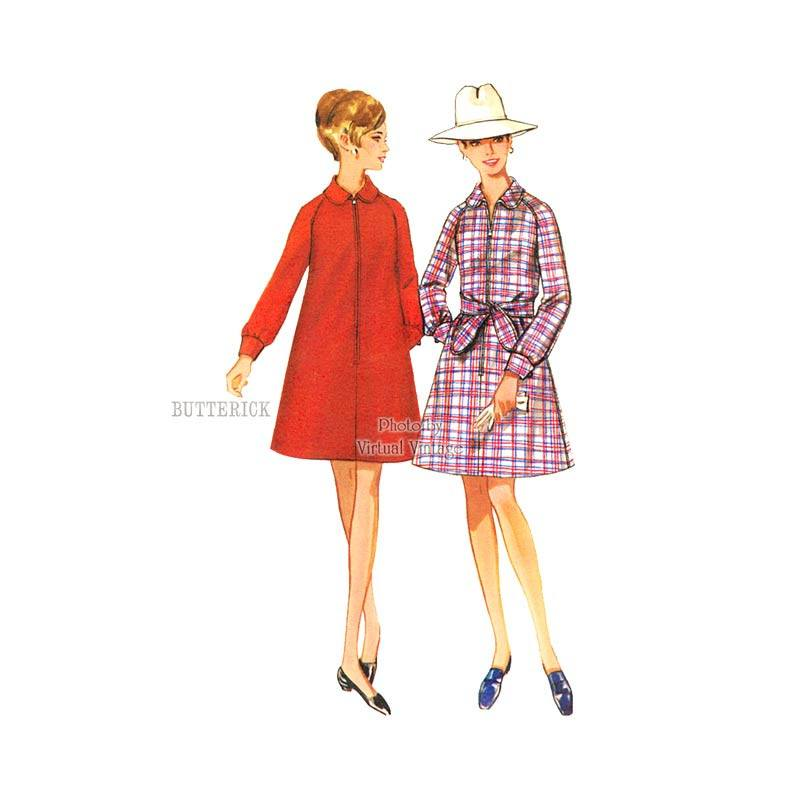1960's A Line Coat Dress Pattern, Butterick 5044