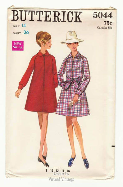 Butterick 5044, 1960's A Line Coat Dress Pattern