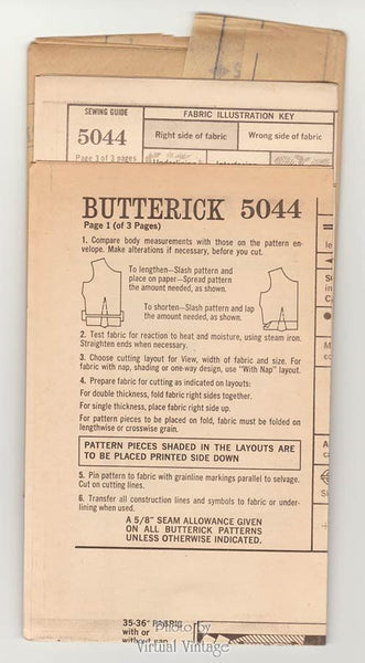 1960's A Line Coat Dress Pattern Butterick 5044 Bust 36 Uncut Vintage Sewing Patterns