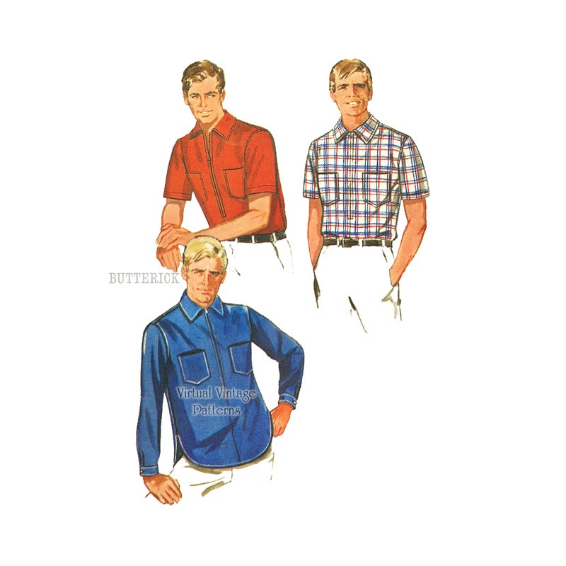 Mens Vintage Sport Shirt Pattern, Butterick 5075