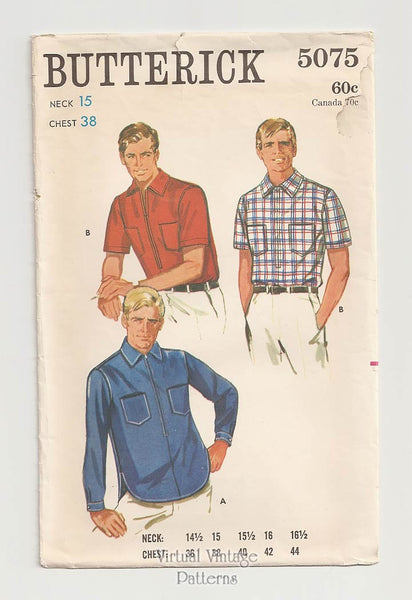Butterick 5075, Mens Vintage Sport Shirt Pattern Chest 38