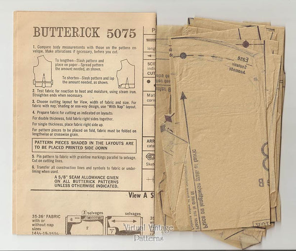 Mens Vintage Sport Shirt Pattern, Butterick 5075, Pullover Shirts, Chest 38