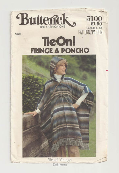 Butterick 5100, 70s Hooded Poncho Pattern