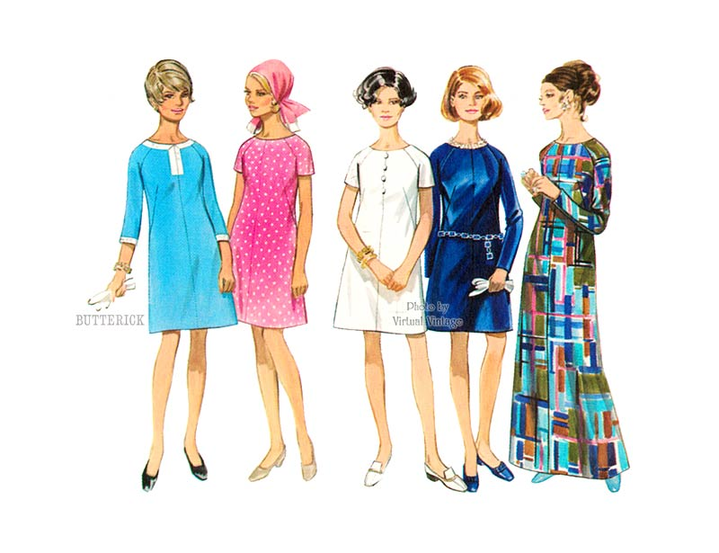 Easy 60s A Line Evening Dress Pattern Butterick 5192