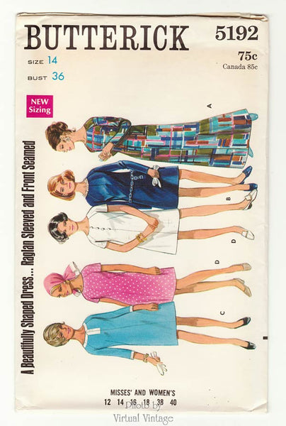 1960s Butterick 5192, A Line Dress Pattern, Size 14