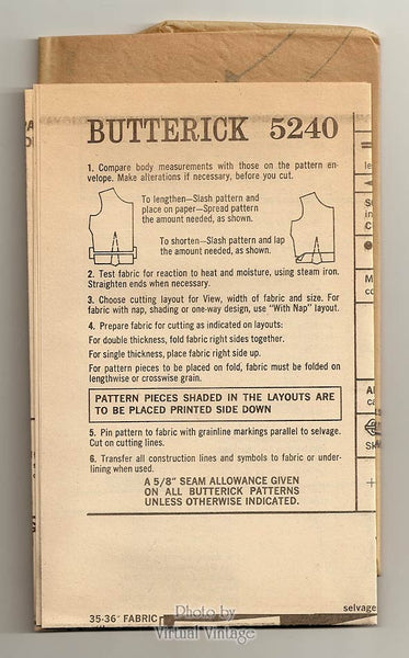 60s Boho Dress Sewing Pattern, Butterick 5240, Jewel Neck Flared Dress, Junior Petite Bust 34 Uncut