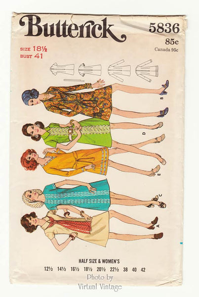 Butterick 5836, Vintage 70s A Line Dress Sewing Pattern