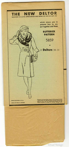 1930s Coat & Cloche Hat Pattern, Butterick 5859, 30s Vintage Sewing Patterns