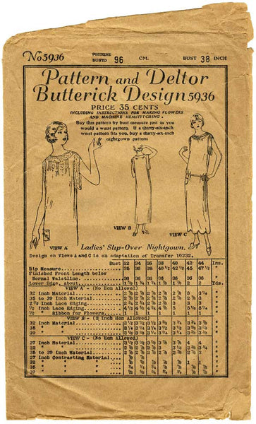 Butterick 5936 1920s sewing pattern, chemise nightgown
