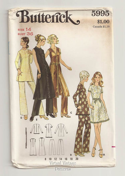Butterick 5995, Evening Dress & Pants Vintage Sewing Pattern