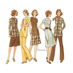 70s Womens Clothing Patterns, Butterick 6322, Bust 40 Dress, Tunic, Jacket, Pants, Skirt