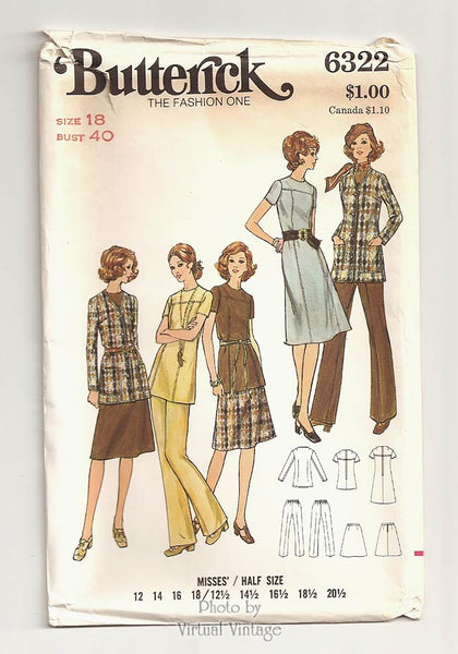 Butterick 6322, 70s Womens Clothing Patterns