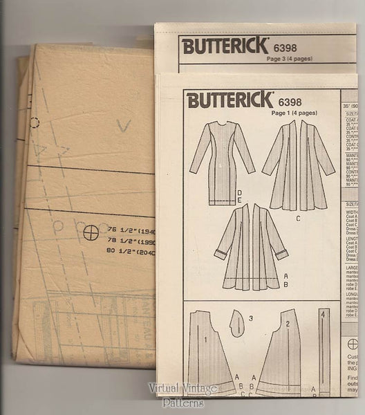 Womens Dress and Coat Pattern, Butterick 6398, Straight Dress & Unlined Coat, Bust 40 42 44, Uncut