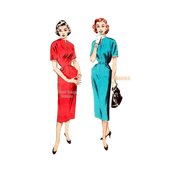 50s Sheath Dress Pattern, Butterick 6630