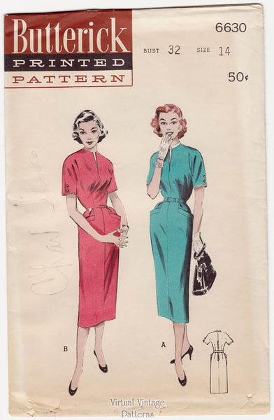 Butterick 6630, 50s Sheath Dress Pattern