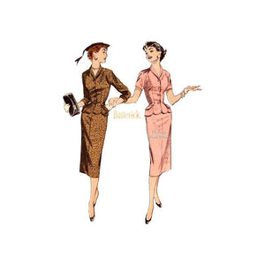 Vintage Butterick 7241 1950s Suit Dress Pattern Pencil Skirt, Scallop Edged Peplum Top, Uncut